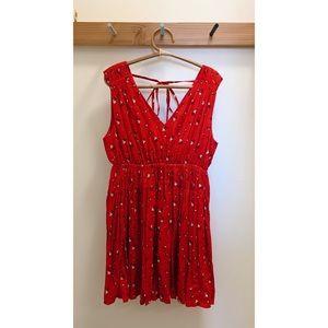 Madewell red floral vneck gathered waist dress, XL